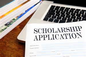 Scholarship application and laptop photo