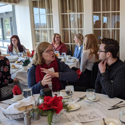 Conversations at a chapter luncheon