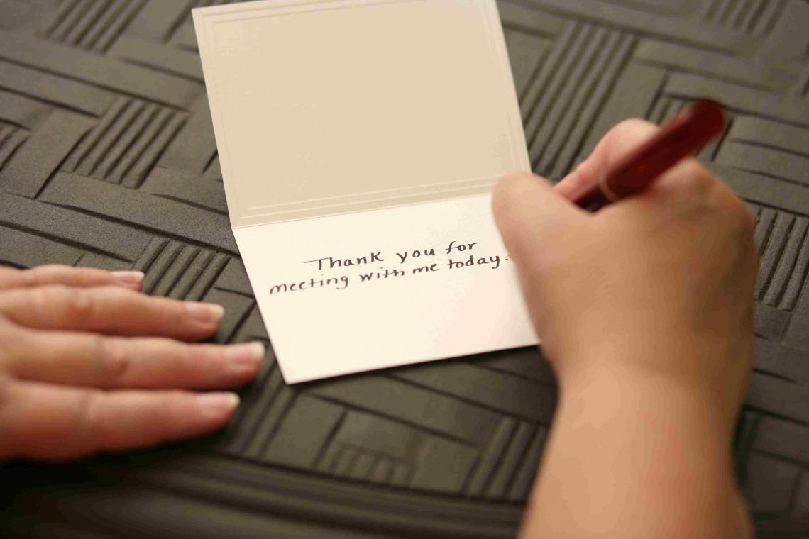 writing thank you card