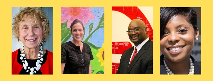 Four headshot photos set to a yellow background. Left to right: woman smiling wearing a red sweater and white necklace, woman smiling wearing a black shirt standing by a floral painted background, man wearing a suit standing by a red and white background, close up of a woman smiling.